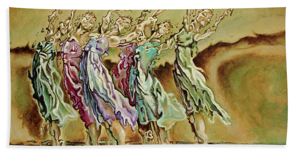 Ballet Beach Towel featuring the painting Reach Beyond Limits by Karina Llergo