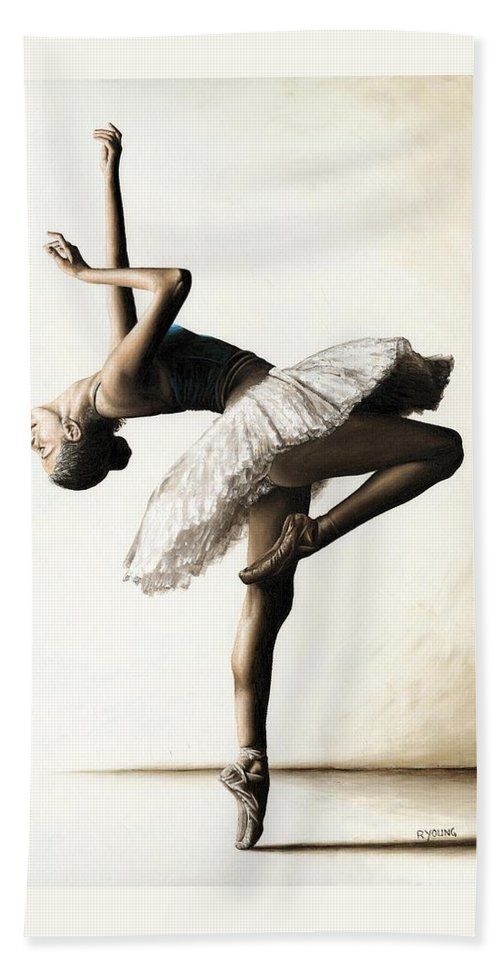 Dancer Beach Towel featuring the painting Reaching for Perfect Grace by Richard Young