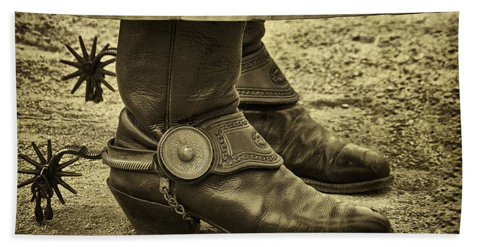 Boots Beach Towel featuring the photograph Ready To Ride by Priscilla Burgers