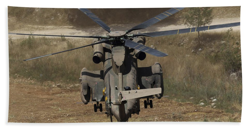 Horizontal Beach Towel featuring the photograph Rear View Of An Israeli Air Force Ch-53 by Ofer Zidon