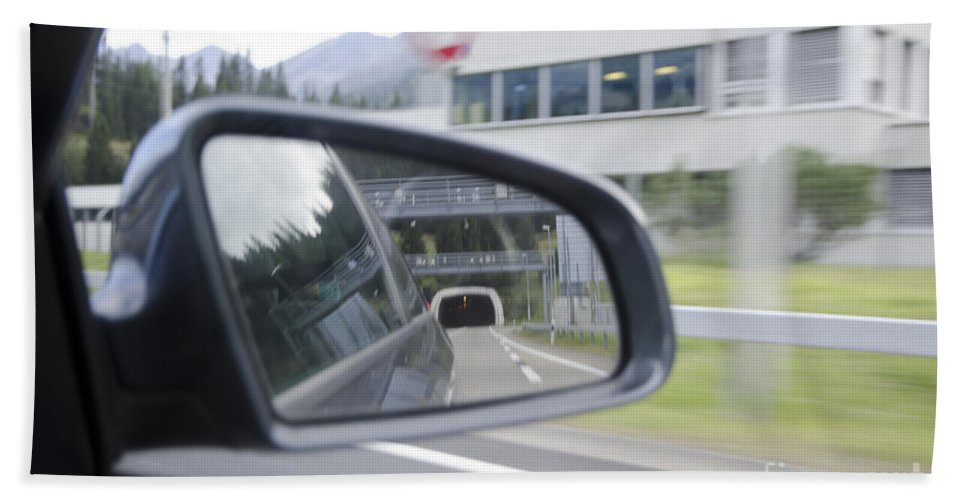 Car Beach Towel featuring the photograph Rearview Mirror by Mats Silvan