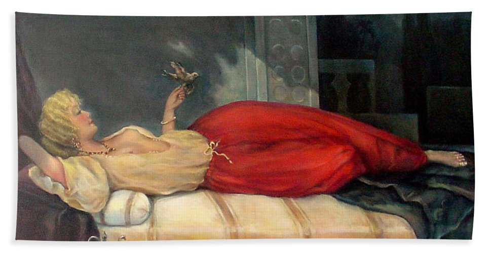 Reclining Woman Beach Towel featuring the painting Reclining Woman by Donna Tucker