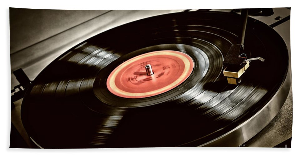 Vinyl Beach Sheet featuring the photograph Record On Turntable by Elena Elisseeva