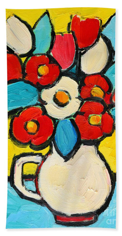 Floral Beach Towel featuring the painting Red And White Tulips by Ana Maria Edulescu