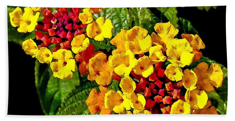 Asia Beach Towel featuring the painting Red And Yellow Lantana Flowers With Green Leaves by Bob and Nadine Johnston