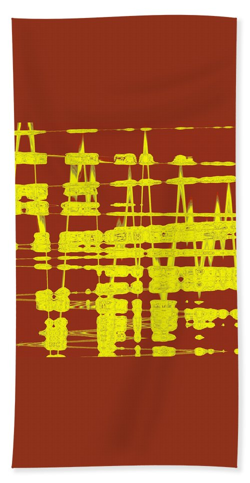Abstract Beach Towel featuring the digital art Red And Yellow Wave No 3 by Ben and Raisa Gertsberg