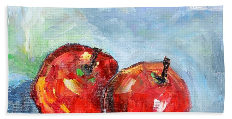 Apples Beach Towel featuring the painting Red Apples by Karen Tarlton