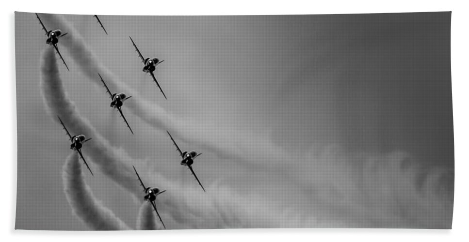 Riat Beach Towel featuring the photograph Red Arrows Diamond 9 by Gareth Burge Photography