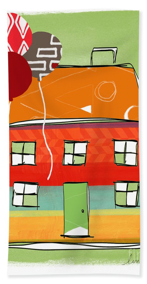 Balloons Beach Towel featuring the mixed media Red Balloon by Linda Woods