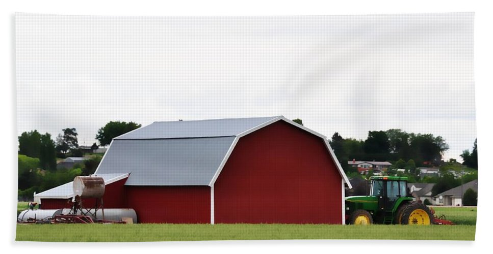 Barn Beach Towel featuring the photograph Red Barn by Image Takers Photography LLC