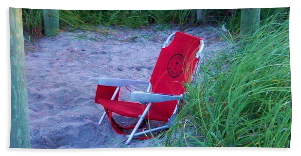 Red Beach Towel featuring the photograph Red Beach Chair by Chuck Hicks