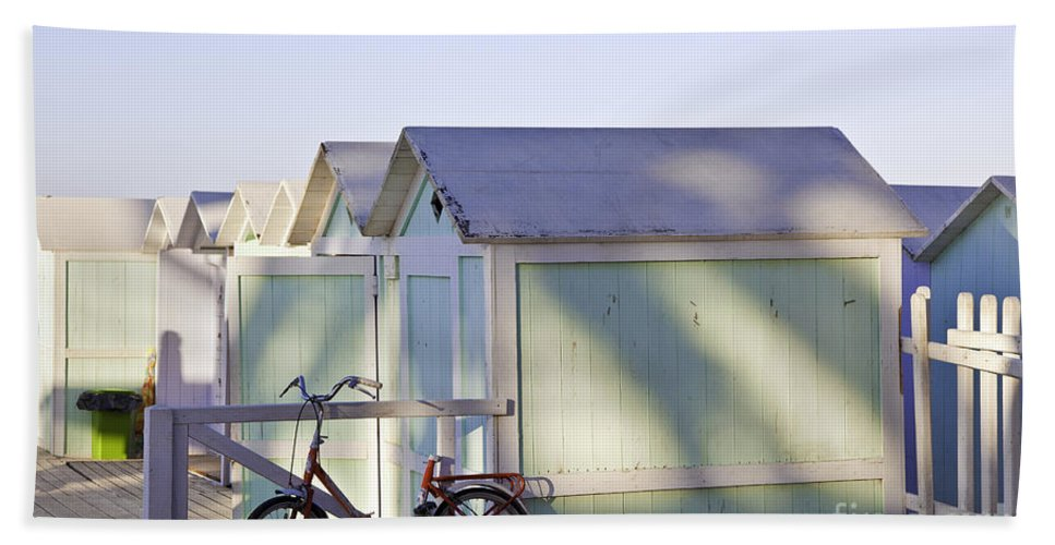 Cabana Beach Towel featuring the photograph Red Bicycle At Mondello Beach by Madeline Ellis