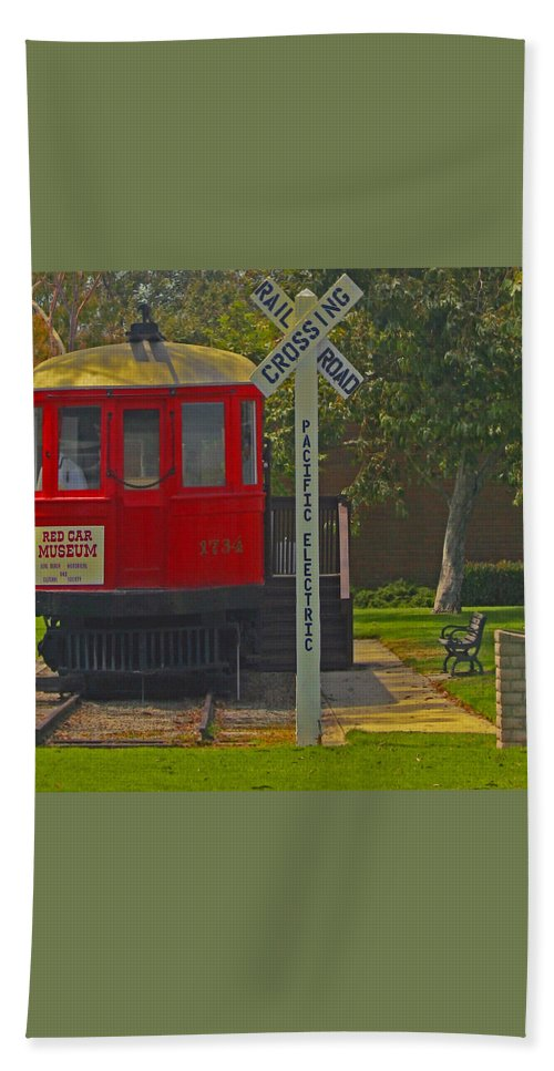 Red Car Museum Beach Towel featuring the photograph Red Car Museum In Seal Beach Ca by Ben and Raisa Gertsberg
