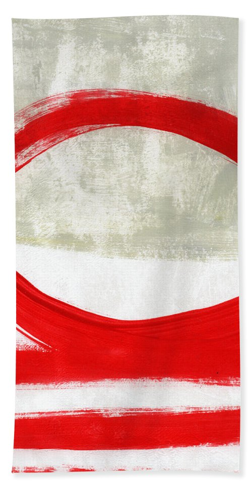 Red Beach Towel featuring the painting Red Circle 4- Abstract Painting by Linda Woods