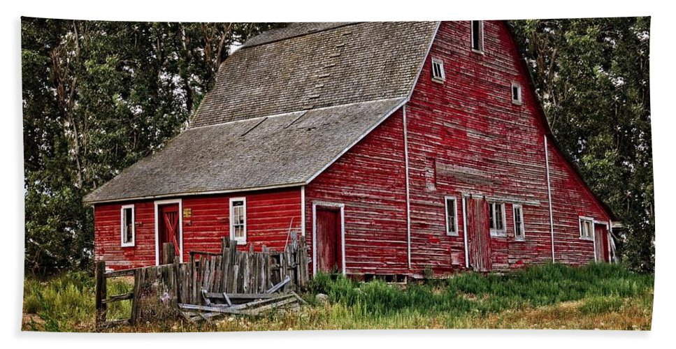 Barn Beach Towel featuring the photograph Red Country Barn by Image Takers Photography LLC - Laura Morgan
