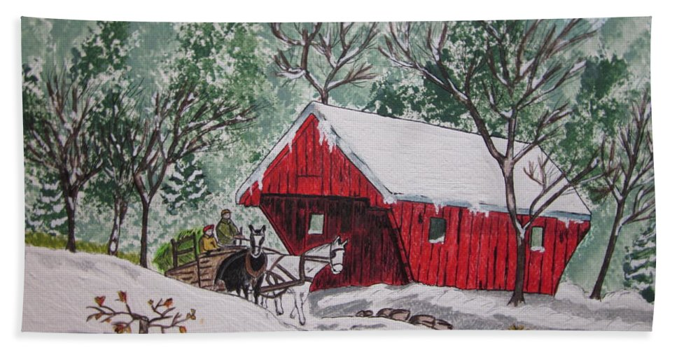 Red Covered Bridge Beach Towel featuring the painting Red Covered Bridge Christmas by Kathy Marrs Chandler