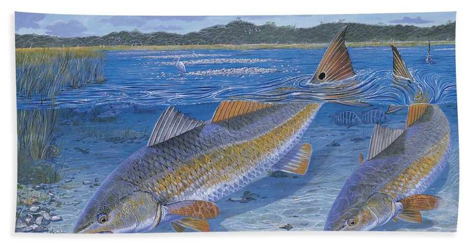 Redfish Beach Towel featuring the painting Red Creek In0010 by Carey Chen