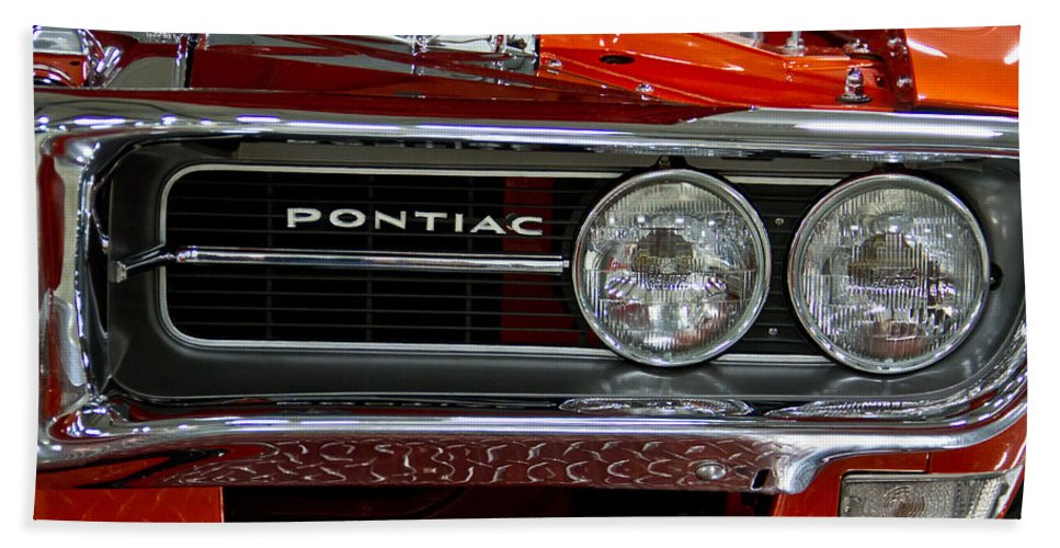 Customized Beach Towel featuring the photograph Red Customized Retro Pontiac-front Left by Eti Reid