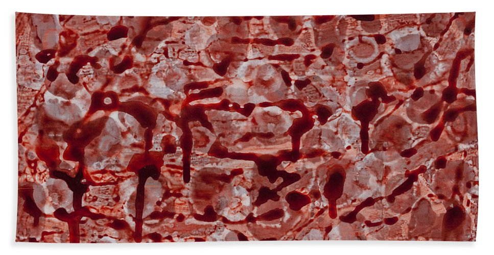 Abstract Beach Towel featuring the painting Red by Darice Machel McGuire