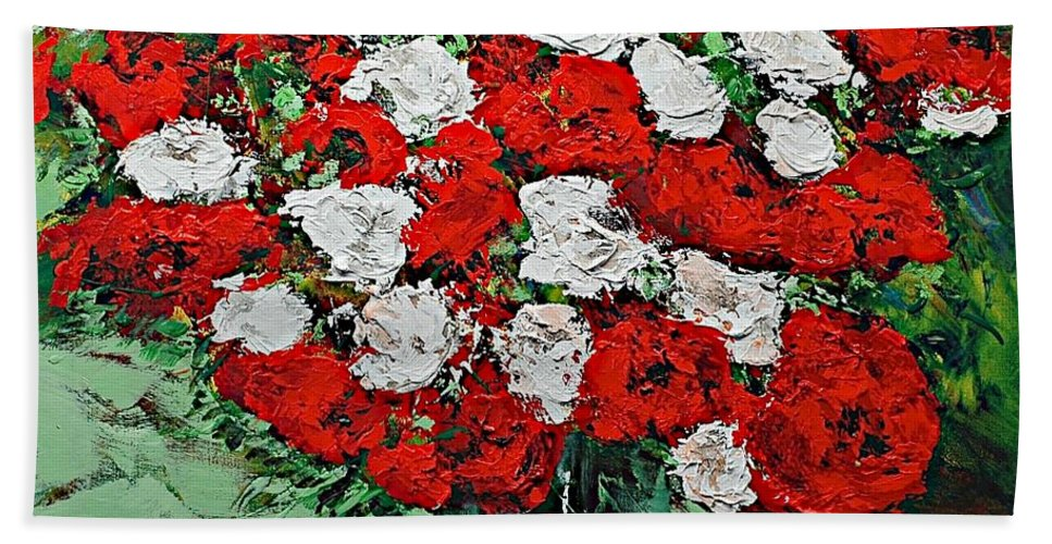 Landscape Beach Towel featuring the painting Red Explosion by Allan P Friedlander