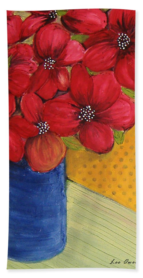 Red Flowers Beach Towel featuring the painting Red Flowers In A Blue Vase by Lee Owenby