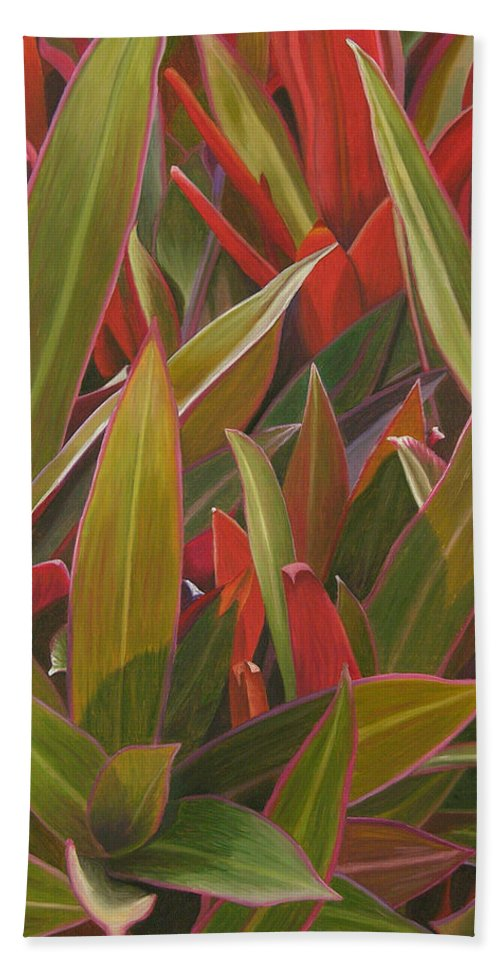 Plants Beach Towel featuring the painting Red Green And Purple by Thu Nguyen
