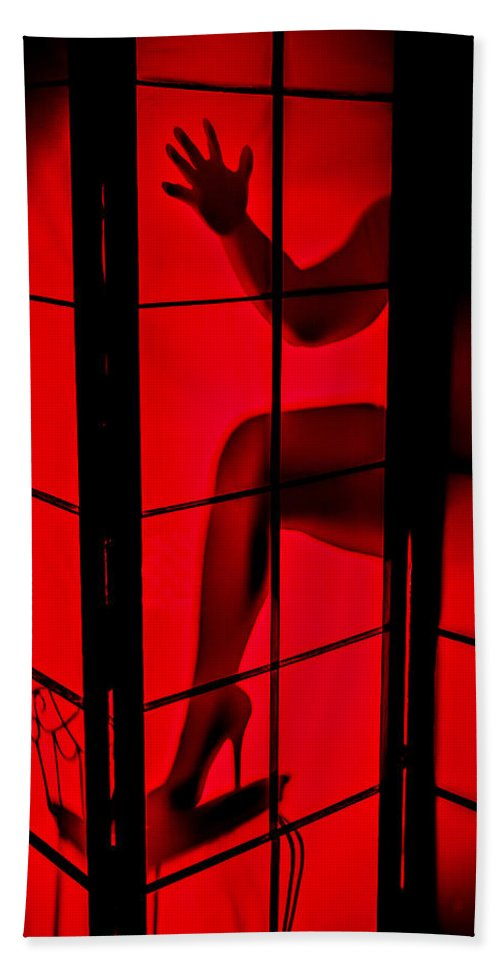 Red Beach Towel featuring the photograph Red Light by Sennie Pierson