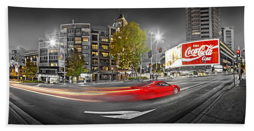 Sydney Beach Towel featuring the photograph Red Lights Sydney Nights by Az Jackson