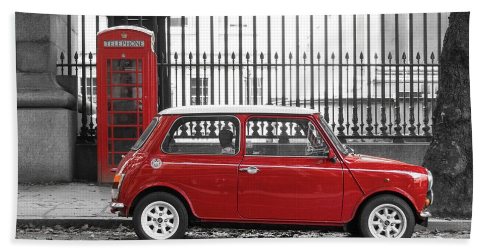 Red Mini Cooper In London Beach Towel