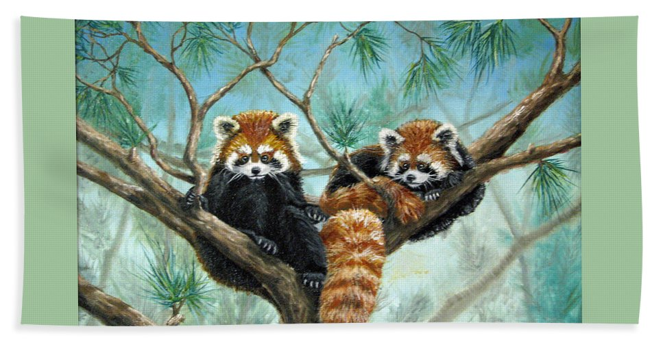 The Other Panda Beach Towel featuring the painting Red Pandas by Beverly Fuqua