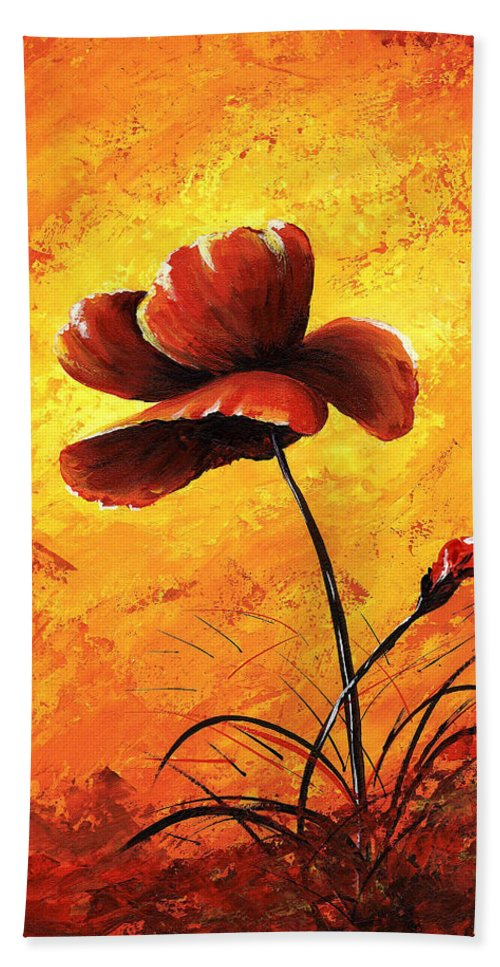 Art Beach Towel featuring the painting Red Poppy 012 by Voros Edit
