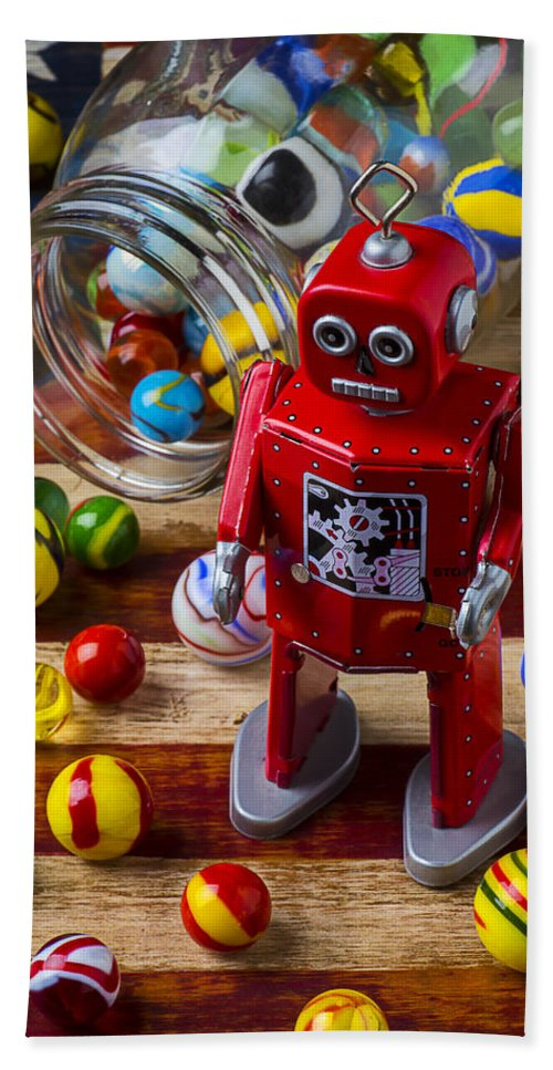 Red Beach Towel featuring the photograph Red Robot And Marbles by Garry Gay