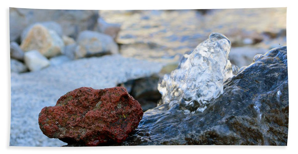 Water Beach Towel featuring the photograph Red Rock And Crystal Water by Brent Dolliver