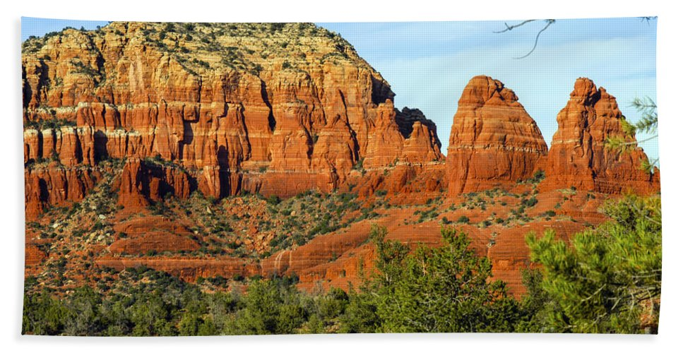 Sedona Arizona Butte Buttes Two Nuns Formations Formations Rocks Mountain Mountains Trees Tree Landscape Landscapes Beach Towel featuring the photograph Red Rock Butte by Bob Phillips