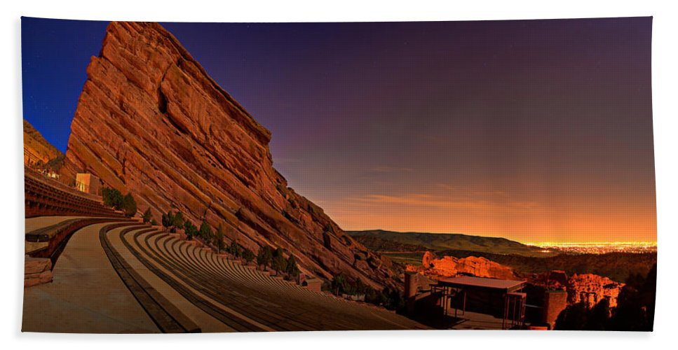 Night Beach Towel featuring the photograph Red Rocks Amphitheatre At Night by James O Thompson