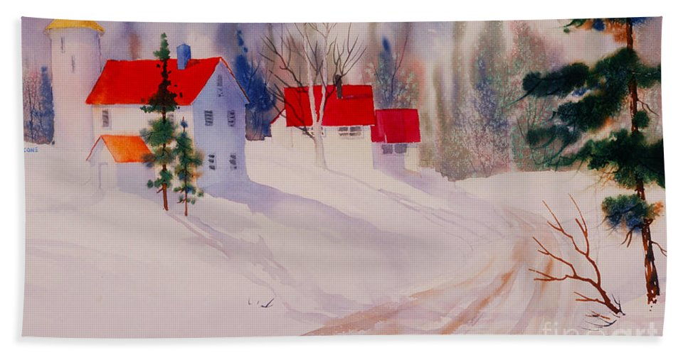 Red Roofs Beach Towel featuring the painting Red Roofs by Teresa Ascone