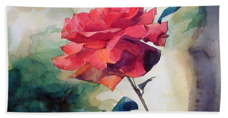 Red Rose Beach Towel featuring the painting Watercolor Of A Single Red Rose On A Branch by Greta Corens