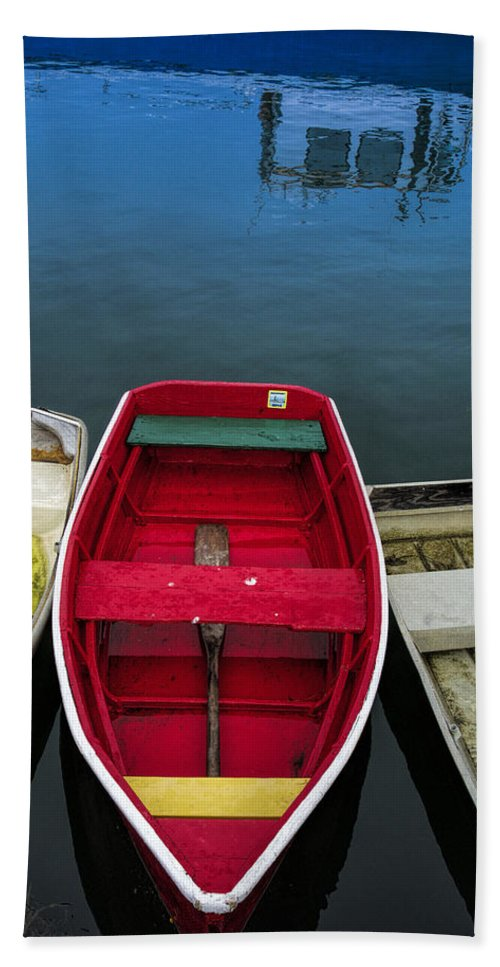 Rowboat Beach Towel featuring the photograph Red Rowboat by David Stone