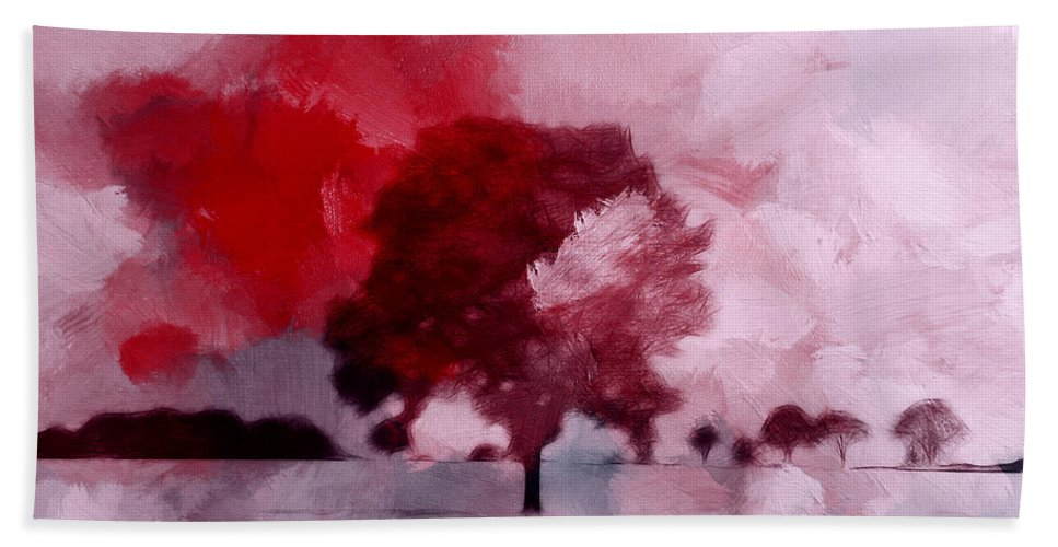 Expressionism Abstract Landscape Tree Cloud Clouds Red Sky Beach Towel featuring the painting Red Sky by Steve K