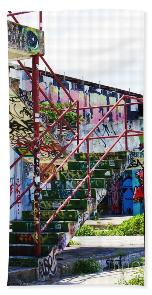 Eyes Beach Towel featuring the photograph Red Stair Rails by Chuck Hicks