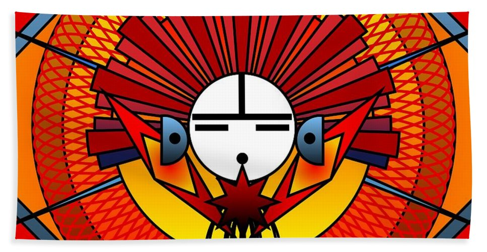 Digital Beach Towel featuring the digital art Red Star Kachina 2012 by Kathryn Strick