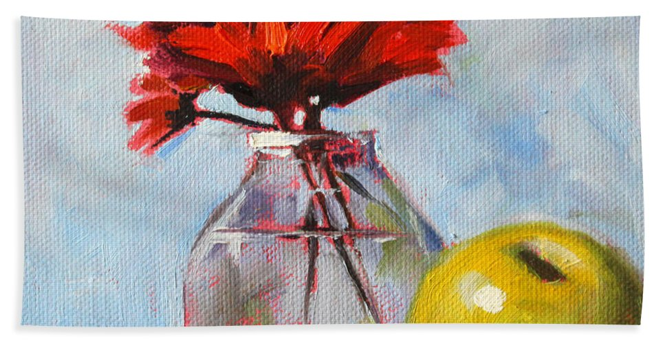 Red Flowers Beach Towel featuring the painting Red Still by Nancy Merkle