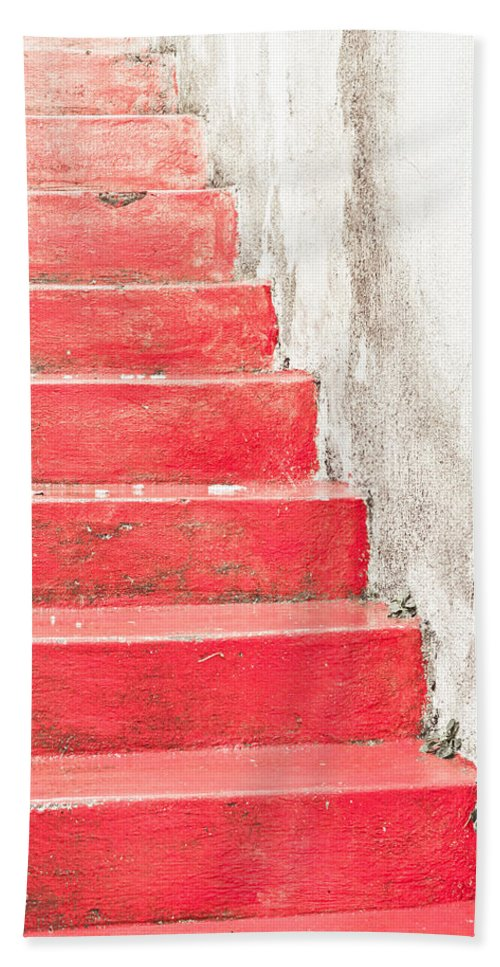 Abstract Beach Towel featuring the photograph Red Stone Steps by Tom Gowanlock