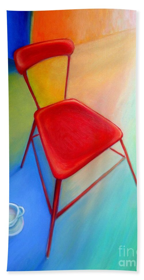 Frederick Luff Beach Towel featuring the painting Red Studio Chair by Frederick Luff