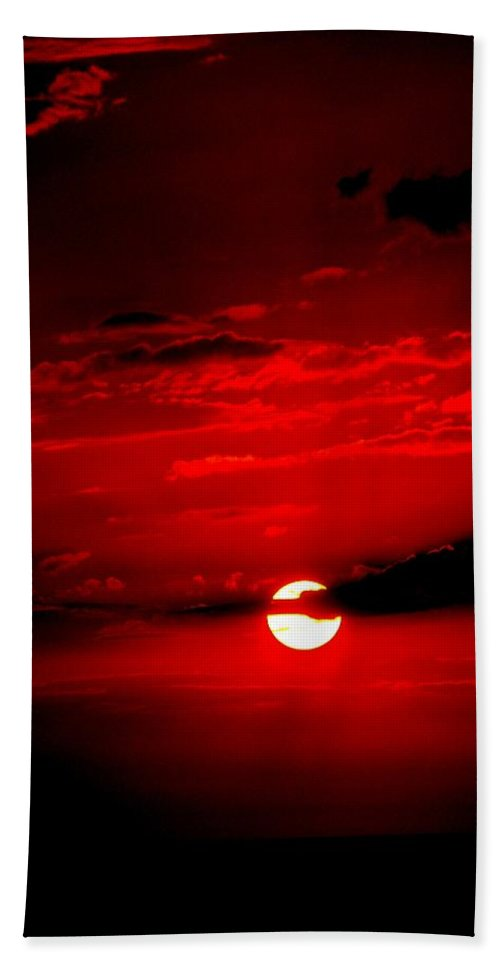 Sun Beach Towel featuring the photograph Red Sun by Katie Beougher