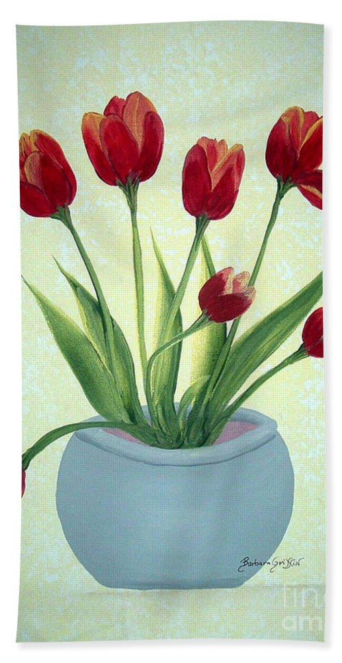 Red Tulips Beach Towel featuring the painting Red Tulips In A Pot by Barbara Griffin