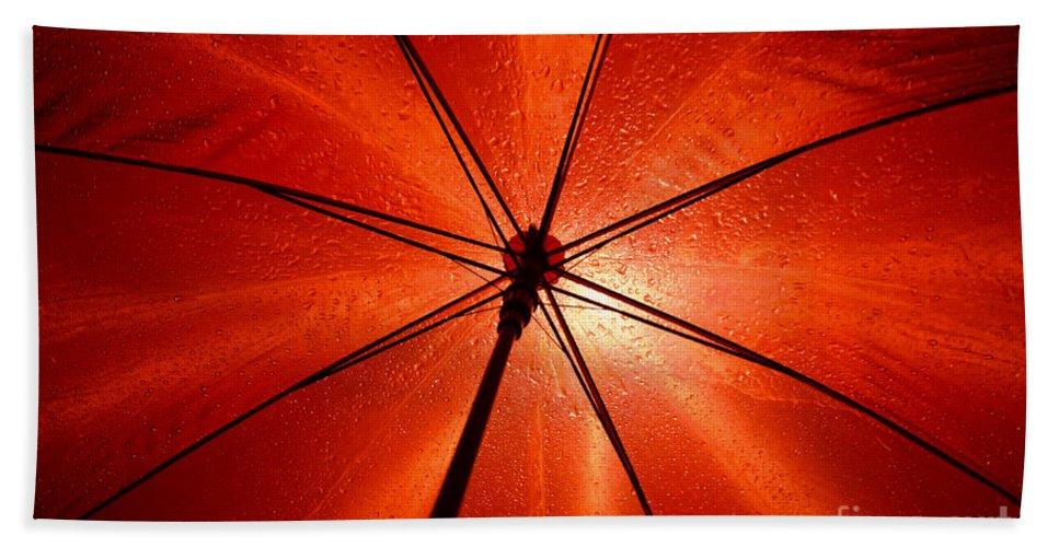 Umbrella Beach Towel featuring the photograph Red Umbrella by Mats Silvan