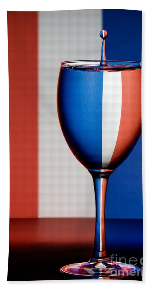 Water Drops Beach Towel featuring the photograph Red White And Blue by Susan Candelario