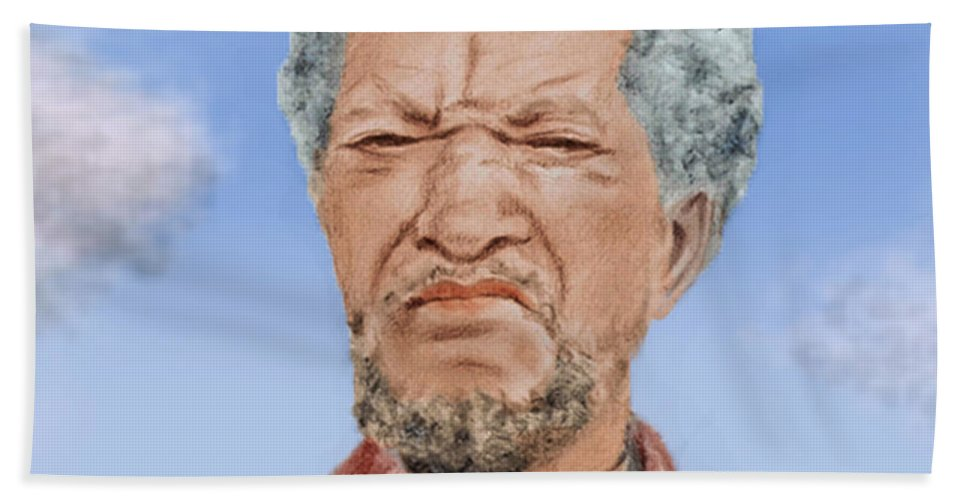 The Cast Of Sanford And Son Beach Towel featuring the digital art Redd Foxx As Fred Sanford by Jim Fitzpatrick