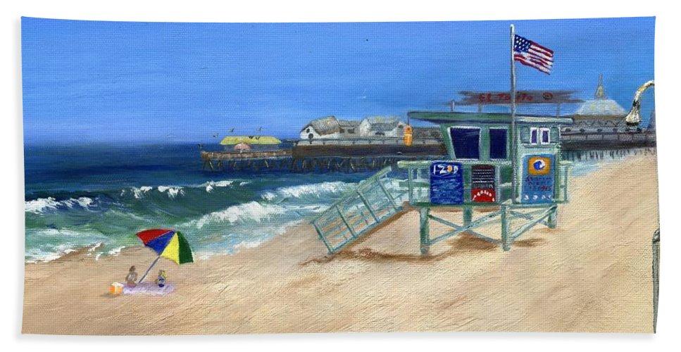 Redondo Beach Beach Towel featuring the painting Redondo Beach Lifeguard by Jamie Frier